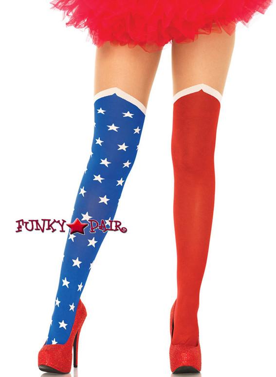 Red/Blue/White Super Hero Costume Stockings | Leg Avenue (LA7729)