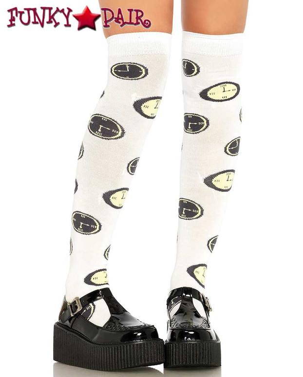 White Clock Print Costume Socks | Leg Avenue (LA6633)