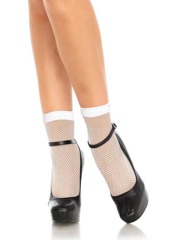 White Fishnet Anklets (LA3039) by Leg Avenue