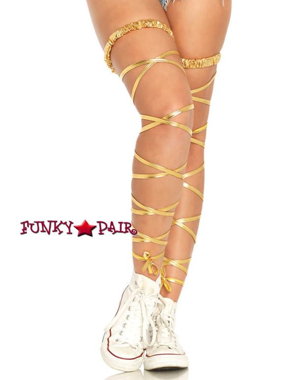 Gold Lame Garter Leg Wrap (LA1938) by Leg Avenue