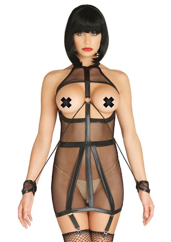 KI4025, Wet Look Fishnet Bondage garter Dress