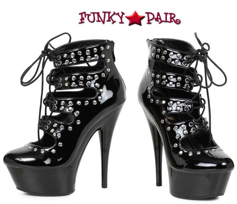 "6"" Studded Lace Up Ankle Boots Ellie Shoes 
