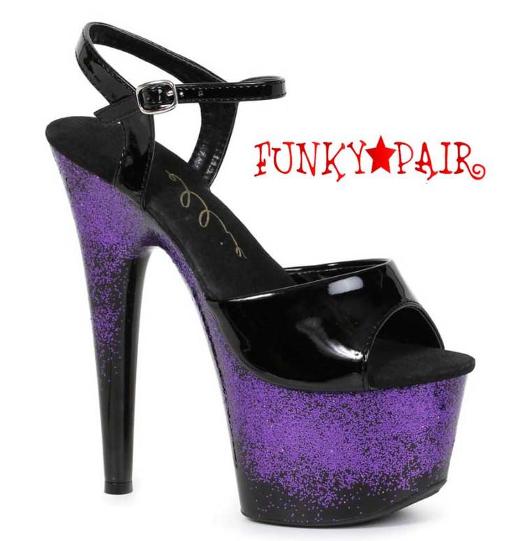"Ellie Shoes | 709-Cari 7"" Pole Glitter Platform Sandal"