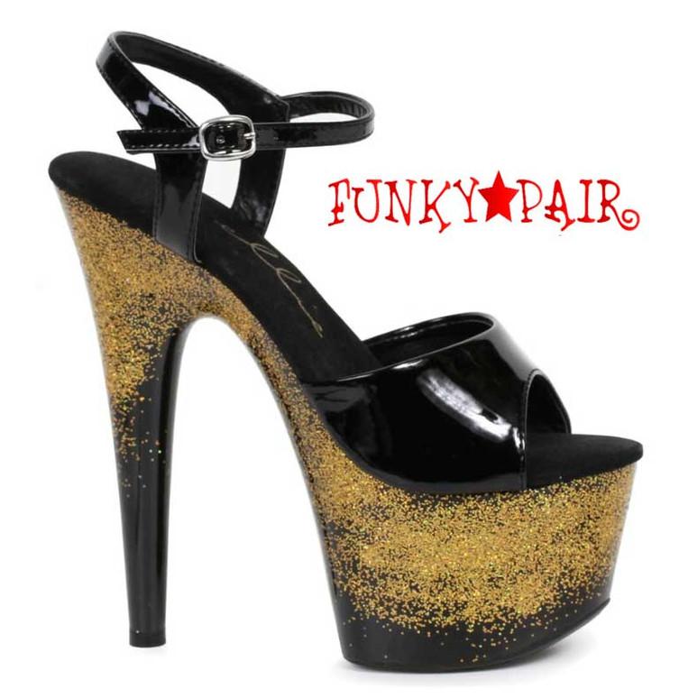 "709-Cari 7"" Pole Glitter Platform Sandal"