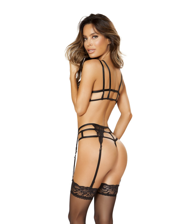 LI196, Cage Top, Lace Garter Belt and Panty