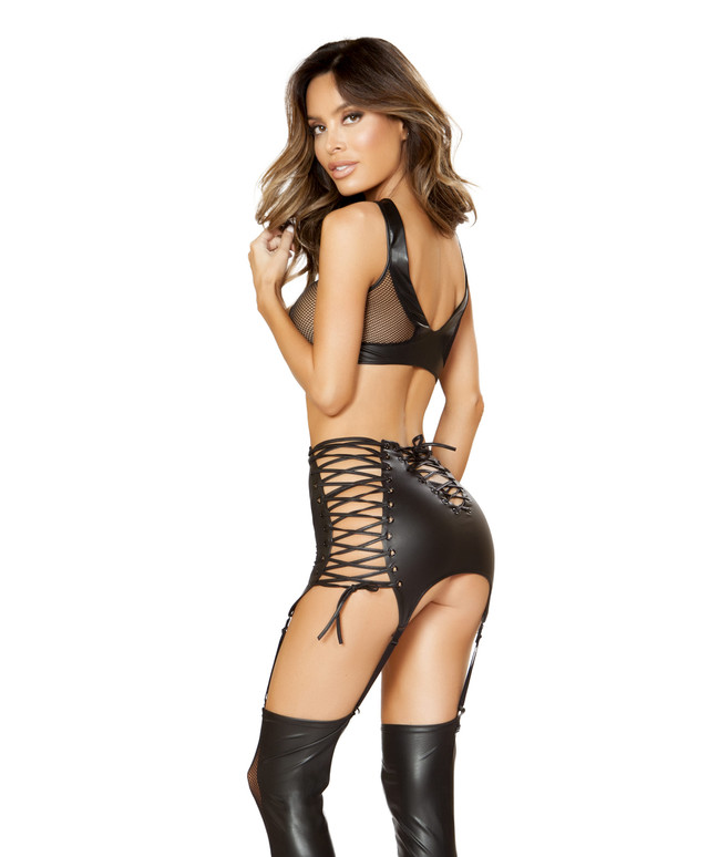 LI149, Lace Up Top with Matching High Waist Garter Skirt