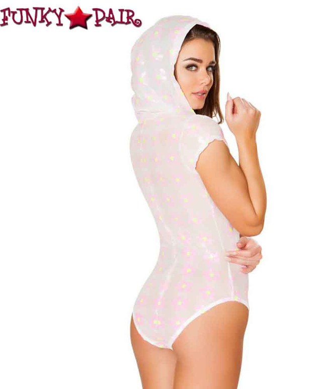 Roma | R-3413, Rave Floral Sequin Sheer Hooded Romper back view