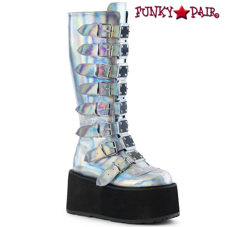 Silver Hologram Platform Knee High Boots by Demonia Damned-318