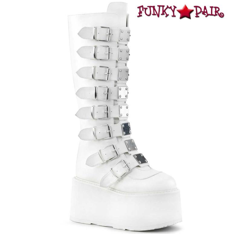 Raver White Platform Knee High Boots by Demonia Damned-318