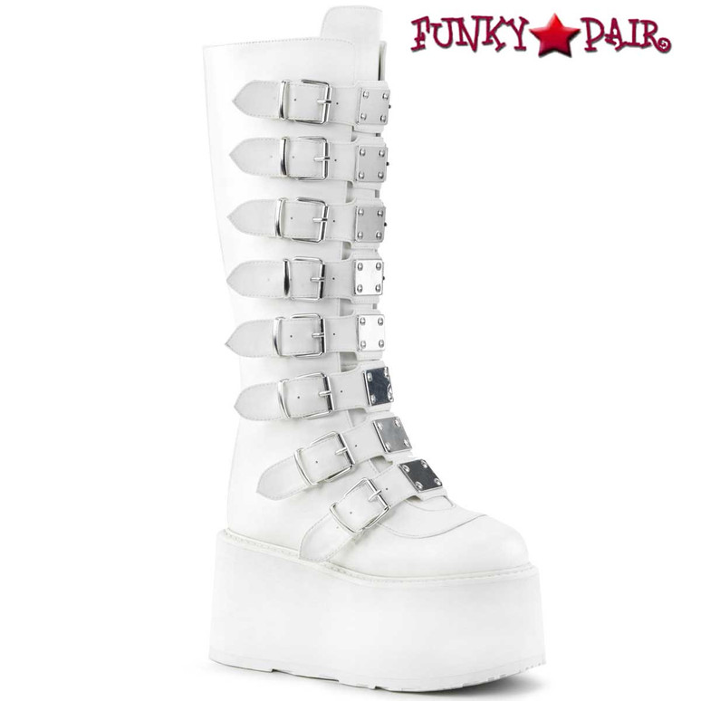 Raver White Platform Knee High Boots by Demonia Damned-318
