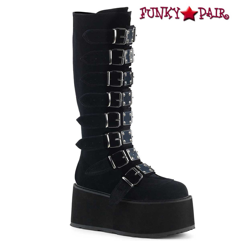 Black Velvet Gothic Platform Knee High Boots by Demonia Damned-318