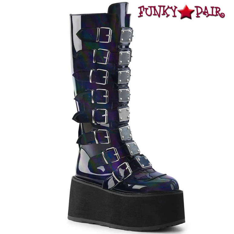 Black Hologram Platform Knee High Boots by Demonia Damned-318