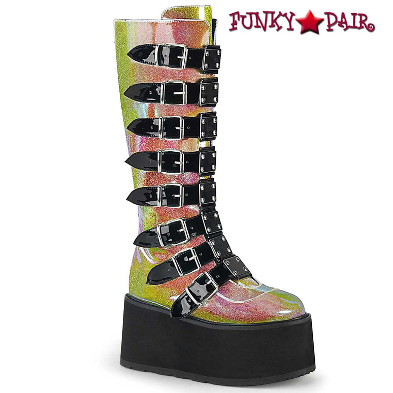 Damned-318 by Demonia Raver Pink Glitter Knee High Boots