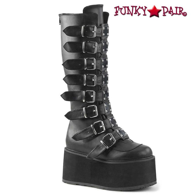 Damned-318, Black Vegan Leather Platform Knee High Boots by Demonia