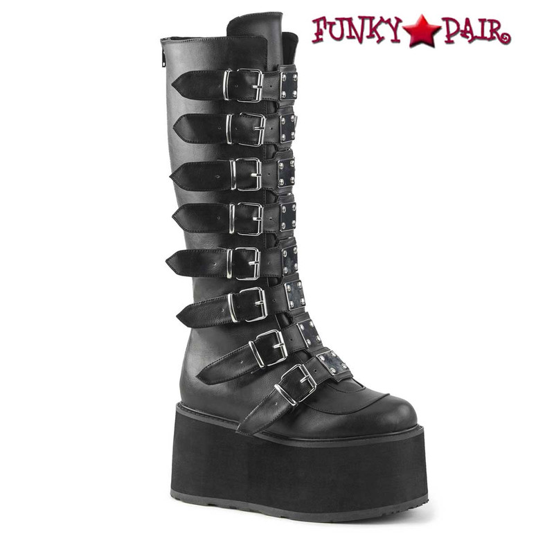 Damned-318, Black Vegan Leather Platform Knee High Boots by Demonia