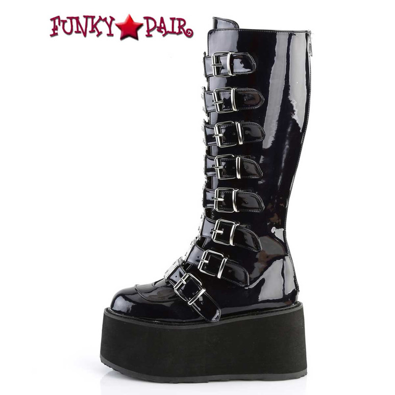 Damned-318 Buckle Straps Knee High Boots w/Chrome Plated Side View by Demonia