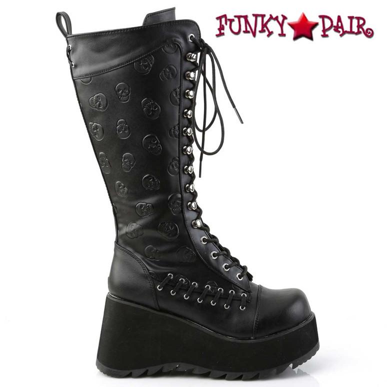 Demonia Scene-107, Goth Knee High Boot with Embossed Skulls