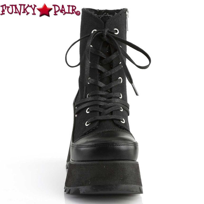 Scene-50 Lace Up Platform Ankle Boots by Demonia Front View