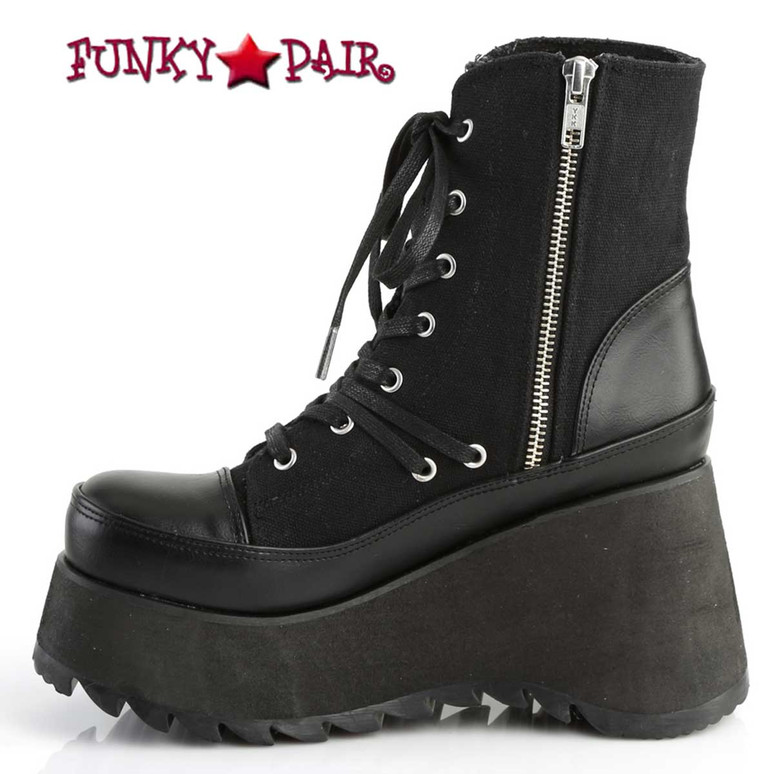 Scene-50 Platform Ankle Boots by Demonia Zipper Side View