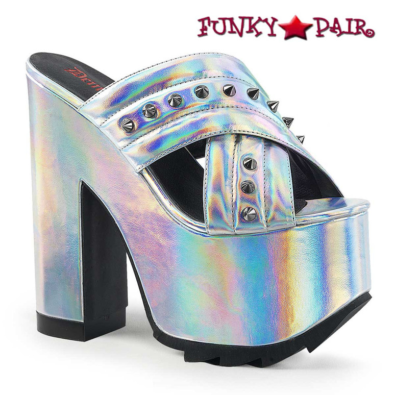 Cramps-09, Platform Criss Cross Slide Demonia Shoes color silver