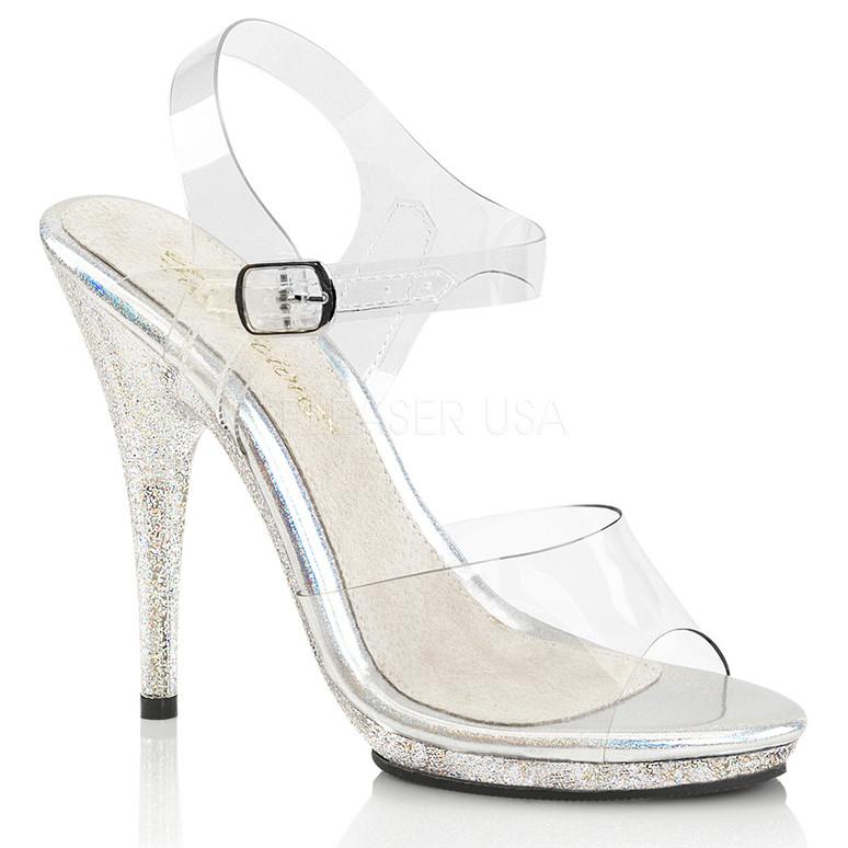 Poise-508MG, 5 Inch High Heel with Mini Glitter on Platform