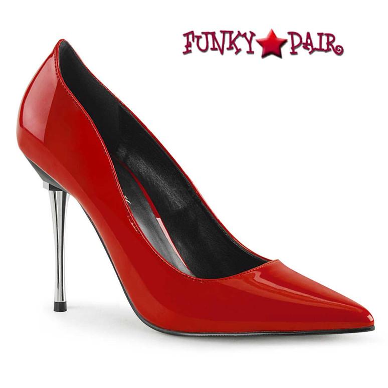 Metal Stiletto Heel Pump Pleaser   Appeal-20, red