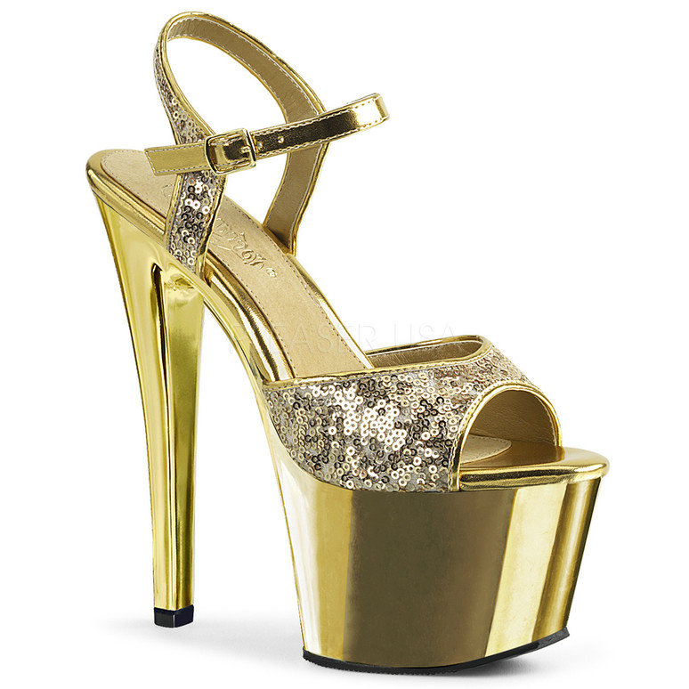 Pleaser | Sky-310SQ, 7 Inch Sequin Strap Sandal