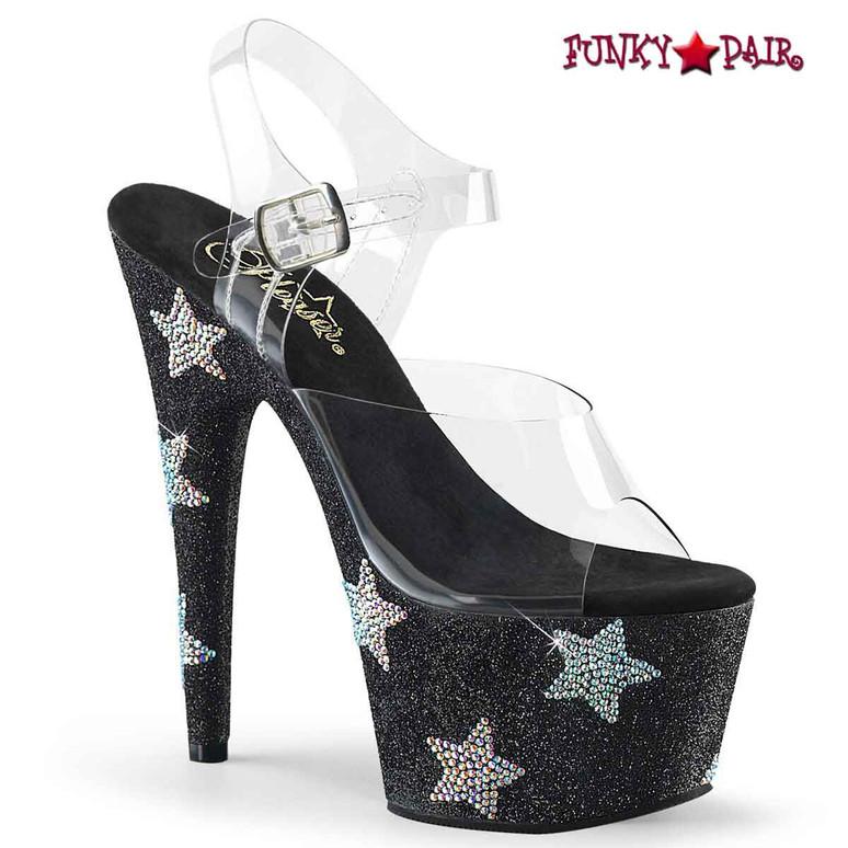 Adore-708STAR, Black 7 Inch Stiletto Heel with Stars Rhinestones by Pleaser