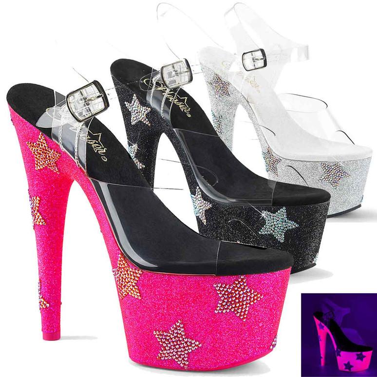 Adore-708STAR, 7 Inch Stiletto Heel with Stars Rhinestones