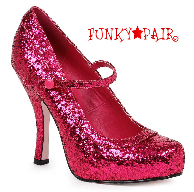 "Ellie Shoes | 423-Candy 4"" Glitter Mary jane Shoes Fuchsia"
