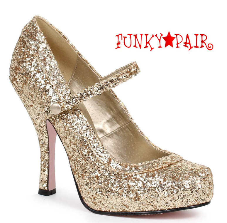 "Gold 4"" Glitter Maryjane Shoes Ellie Shoes 