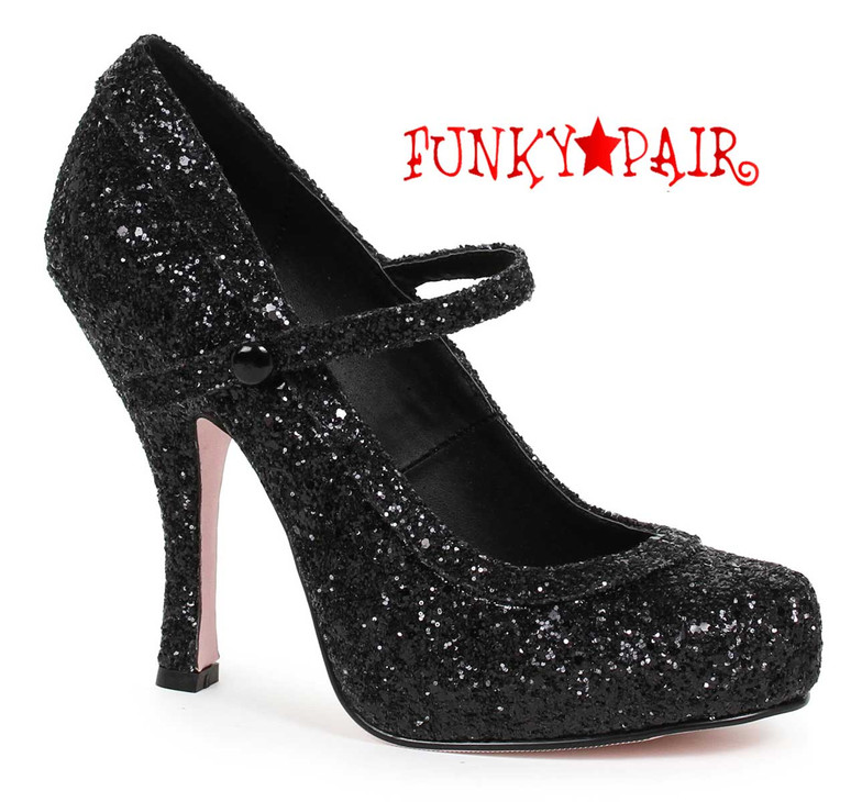 "Black 4"" Glitter Maryjane Shoes Ellie Shoes 