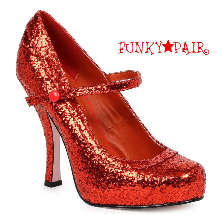 """Red 4"""" Glitter Maryjane Shoes Ellie Shoes 