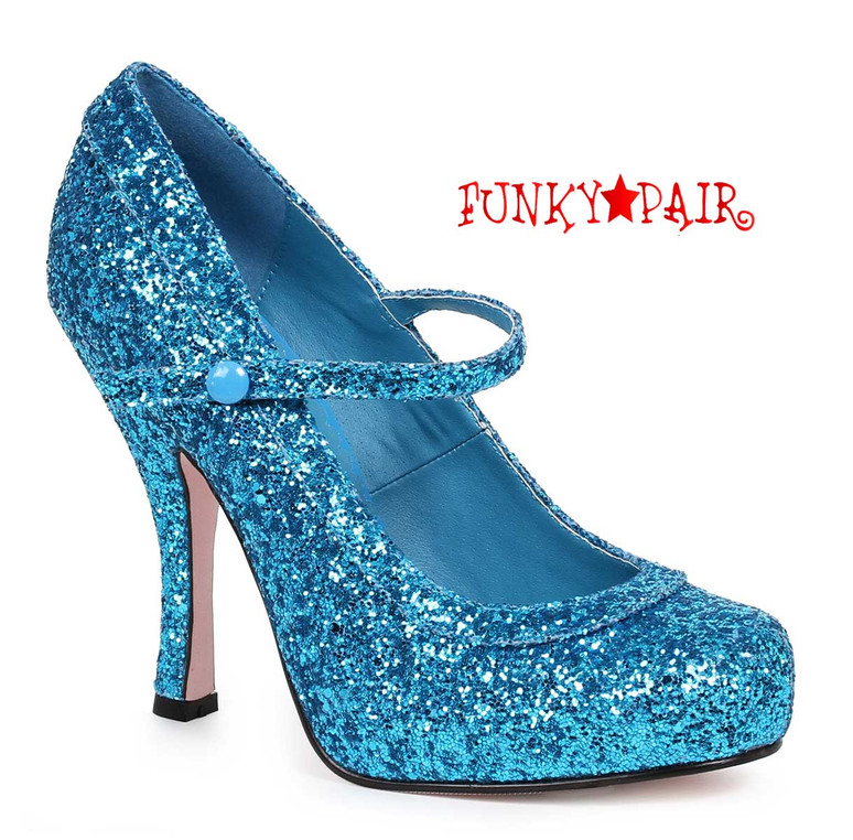 "Ellie Shoes | 423-Candy 4"" Glitter Maryjane Shoes Blue"