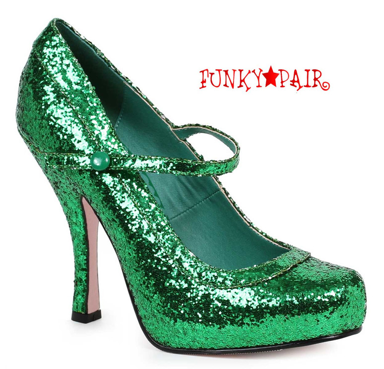 "Green 4"" Glitter Mary jane Shoes Ellie Shoes 