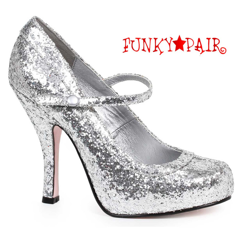 """Silver 4"""" Glitter Maryjane Shoes Ellie Shoes 