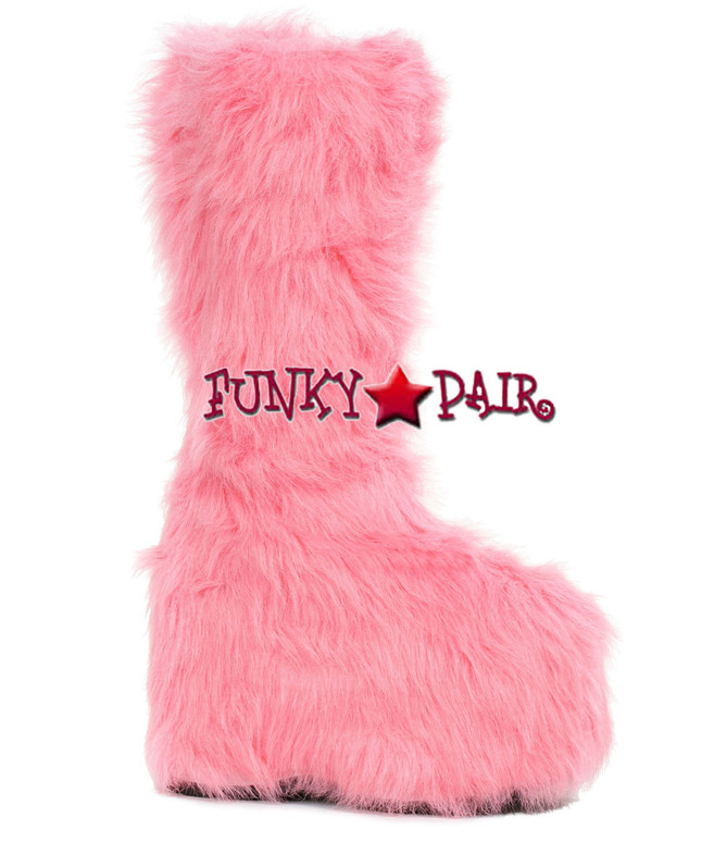 500-Fuzz, 5 Inch Chunky Heel Platform Boots with Fur color Pink