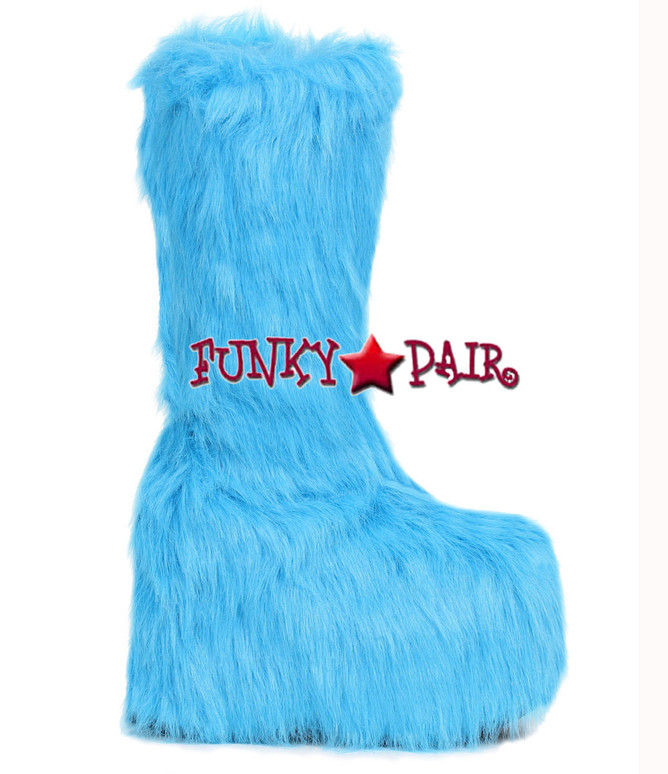500-Fuzz, 5 Inch Chunky Heel Platform Boots with Fur color Blue