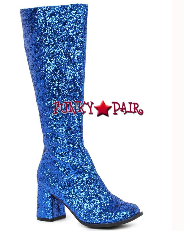 """Blue 3"""" Glitter GOGO BOOTS Gogo-G"""