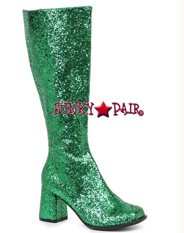 """Green 3"""" Glitter GOGO BOOTS Gogo-G"""
