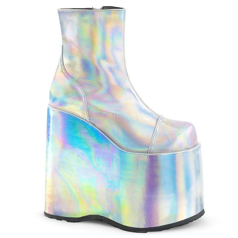 "Slay-204, Raver 7"" Hologram Platform Ankle Boots by Demonia"