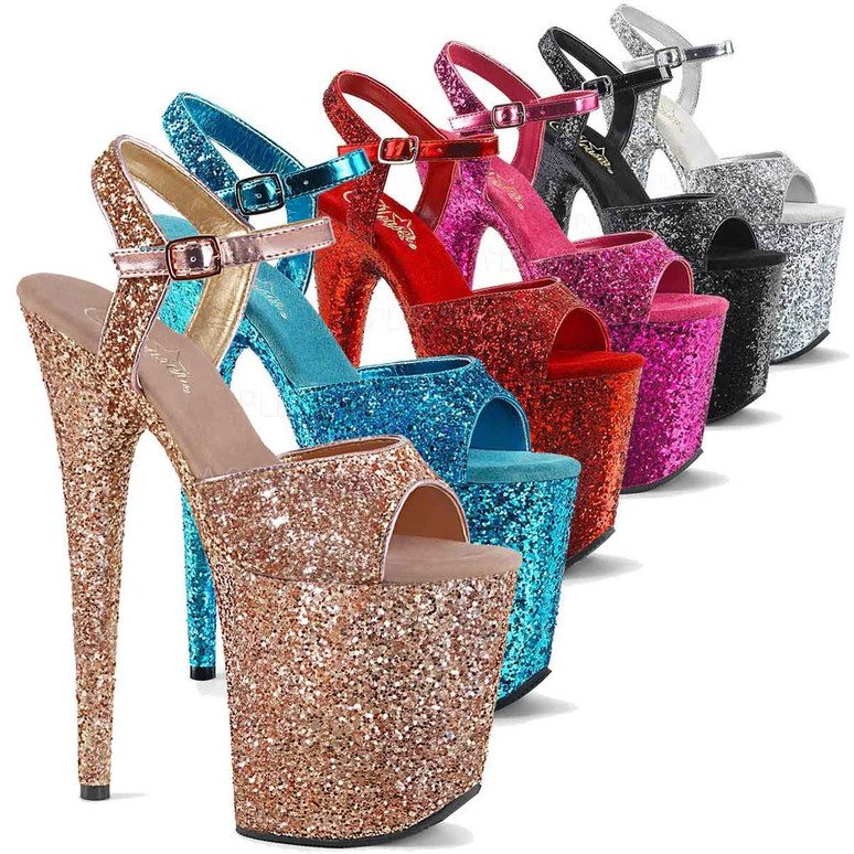 Where To Buy Pleaser Glitter Stripper Shoes  color available: Rose Gold,  Aqua, Hot Pink, Red, Black, Silver