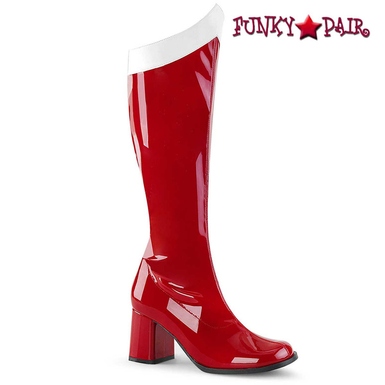 Red Super Hero Boot Gogo-306 by Funtasma