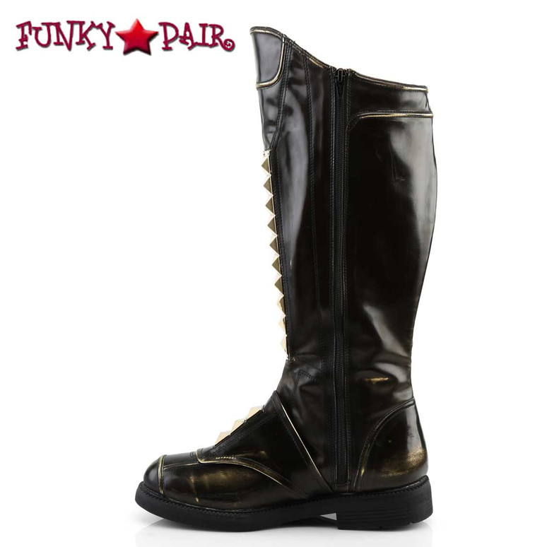 "Captain-115, 1"" Men's Stack Heel Knee High Boots 