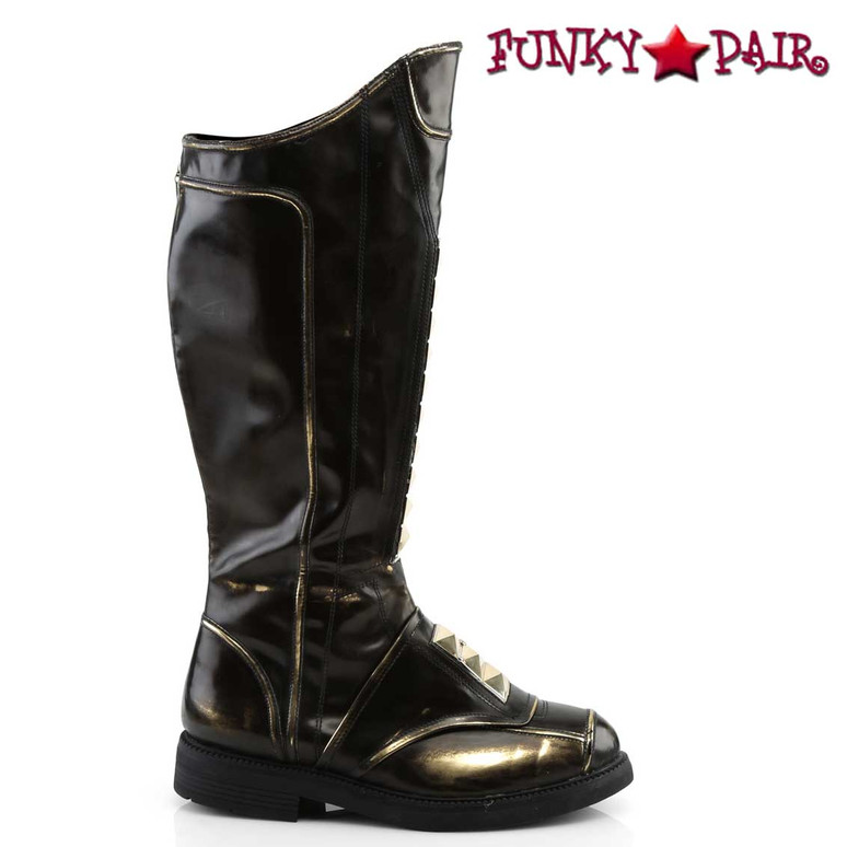Funtasma | Captain-115, Men Stack Heel Knee High Boots Side View