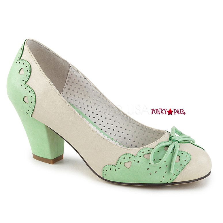 Wiggle-17, Cuben Heel Pump with Bow Accent | Pin-Up Shoes color cream/mint