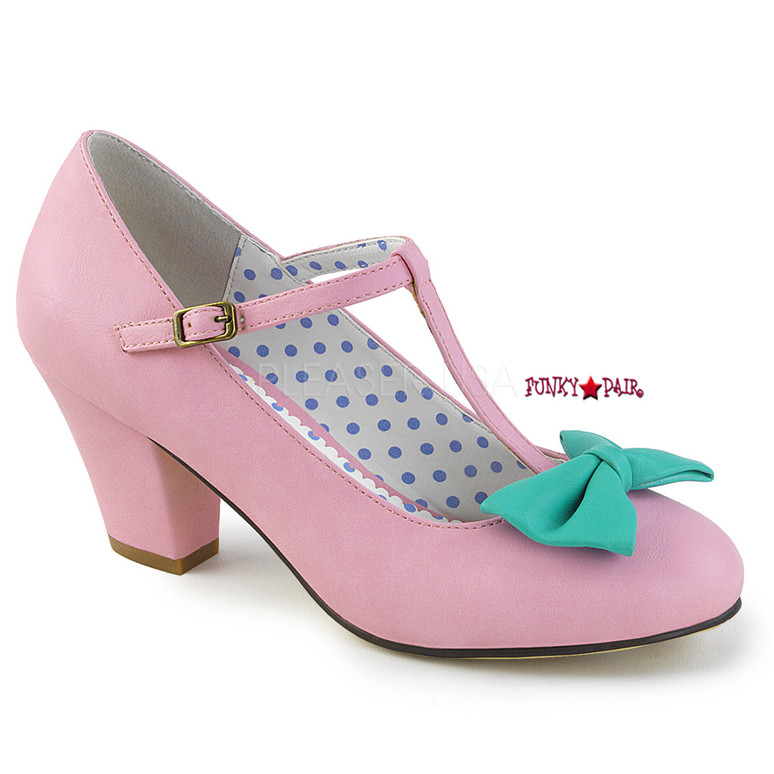 Pink Wiggle-50, Cuben Heel T-strap Pump | Pin-Up Couture