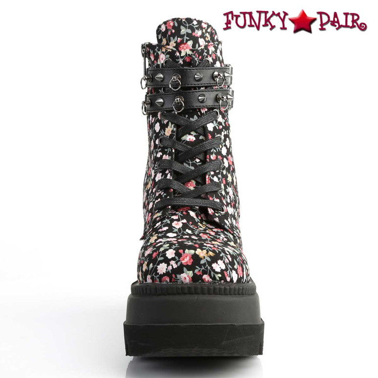 Shaker-52ST, Front View Flower Wedge Ankle Boots with Flower by Demonia