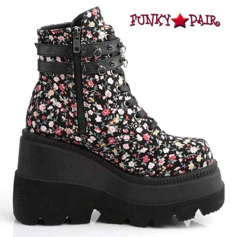 Shaker-52ST Ankle Boots with Flower by Demonia Zipper Side View