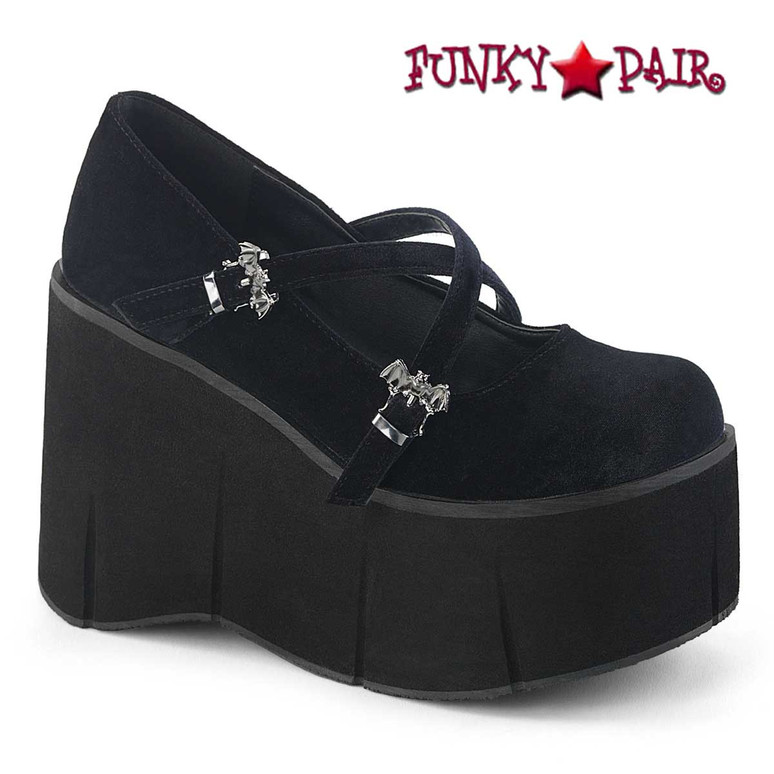 Kera-10, 4.5 Inch Platform Criss Cross Strap Maryjane Color Black Velvet